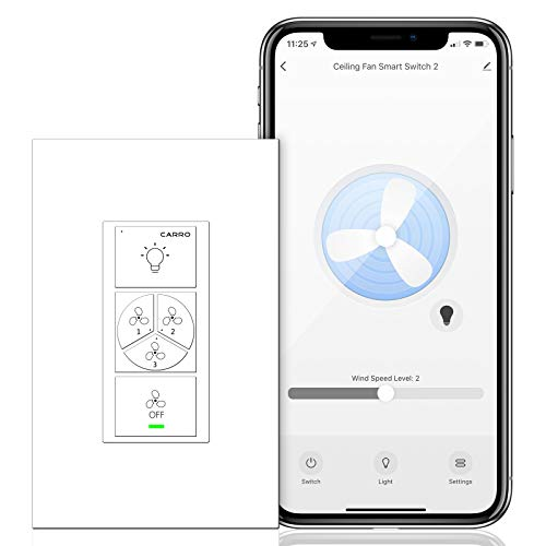 Carro Light & 3 Speed Ceiling Fan Control Switch, Works with Compatible with Alexa and Google Home, Schedule Timer, Neutral Wire Required, Remote Control with App/Wi-Fi
