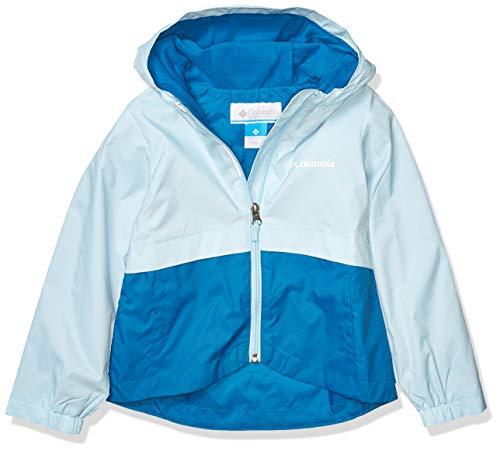 Columbia Big Girl's Rain-Zilla Jacket, Waterproof, Reflective Outerwear, Dark Pool/Spring Blue, Medium