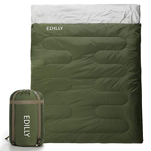 EDILLY Double Sleeping Bag for Backpacking,4 Seasons Warm Cold Weather Lightweight, Portable, Waterproof 2 Person Sleeping Bags for Adults and Kids, Perfect for Hiking Traveling, Indoor & Outdoor