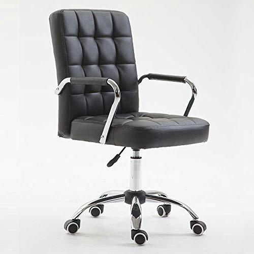 HJJK Sillas de ocio silla de oficina, Barandilla giratoria ajustable en altura ergonómica del hogar del ordenador silla giratoria durable fuerte, color: negro