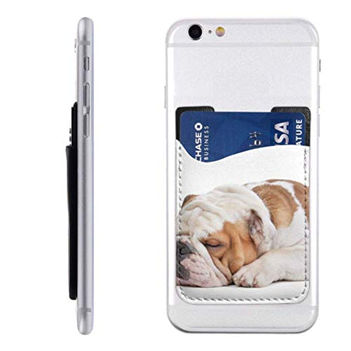 Cell Phone Card Holder Sticker English Bulldog Front White Pu Leather Wallet Sleeves ,Cover Stick On Wallet for Phone and Android Smartphones
