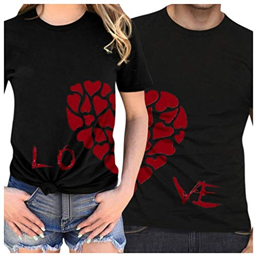 Couple Shirts Dasongff Valentijnsdag half hart heren linker dames juiste kant 1/2 liefde paar vrouwen T-shirt love shirt basic casual thee X-Large zwart/heren.