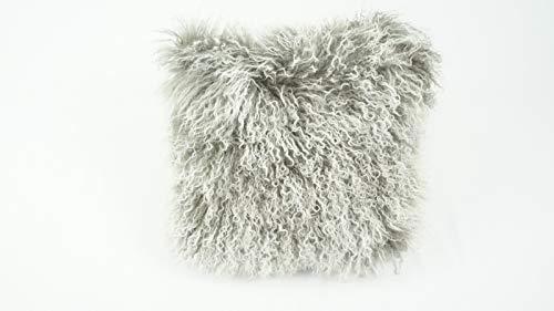 bokke Tibet Lammfell Kissen, Natürliches, Grau Meliert, 40x40cm