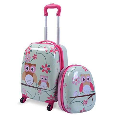 "Custpromo 2 pcs ABS Kids Suitcase Lightweight Backpack Luggage Set 16"" Carry On Luggage with Spinner Wheels and 12"" Backpacks Set for 2, 3, 4 year olds,Boys and Girls (Owls) Kansas"
