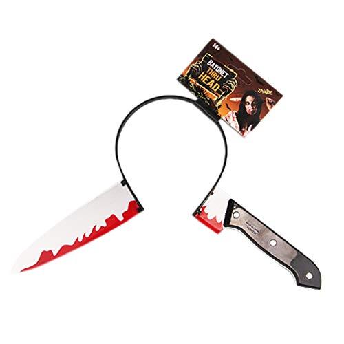 Cold Toy Halloween Haarreif Messer durch Kopf gefälschte Blut Requisiten für lustige Scary (A)