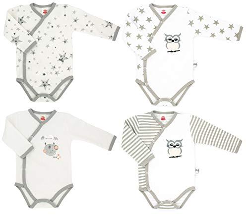 Makoma 100% Baumwolle Langarm Baby Body 4er Set Wickelbody Mädchen Eule & Teddy (62)