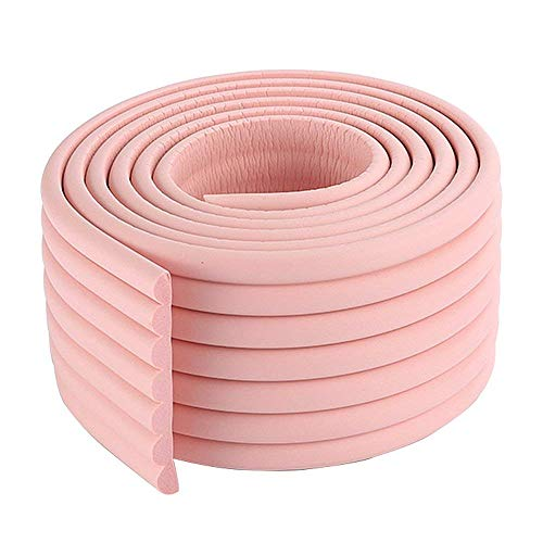 SuperglockT - Protector universal para bordes de mesa de 2 metros, 10 mm de grosor, espuma de protección infantil, protección de cantos para bebés, protección contra golpes, autoadhesivo, protección para muebles, 81 mm de ancho rosa Rosa