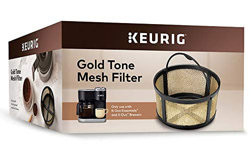 Keurig Reusable Ground Coffee Filter Compatible Essentials and K-Duo Brewers only, Eco-Friendly Way to Brew a Carafe, Gold Tone Mesh