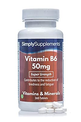 SimplySupplements Vitamin B6 50mg Regulates Hormonal Activity 360 Tablets from Simply Supplements