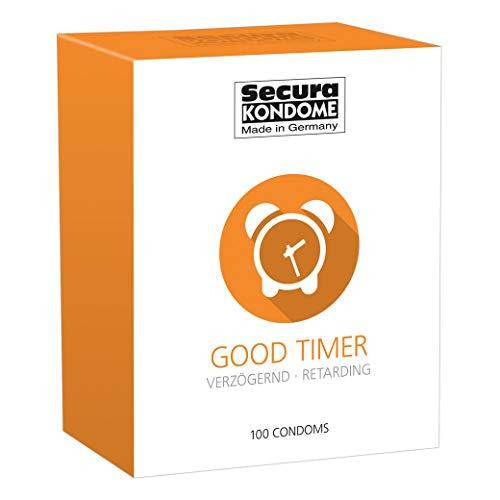 Secura Good Timer 100er Kondome - 100 durchsichtige Präservative zur Verhütung mit Benzocain für Männer, verlängert Erektion