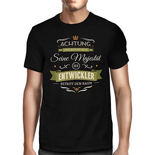 Fashionalarm Herren T-Shirt - Seine Majestät der Entwickler | Shirt mit Spruch Geschenk-Idee Software-Entwickler Web-Entwickler Beruf Job Arbeit, Schwarz 5XL