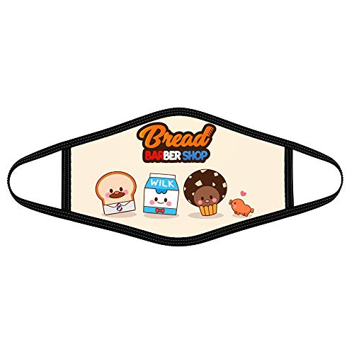 Eledin Cloth Face Mask Bread Cute Wilk Choco Arts Barbershop Korean Animated Kids Series Funny Custom Covering for Women Men Daily Outdoor Washable Fashion (1pcs/Pack) Black