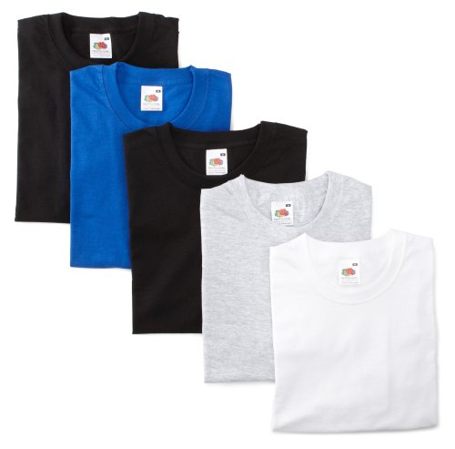 Fruit of the Loom 5-Pack Valueweight T-Shirt, Grau, Royal, Weiss, 2 X Schwarz, 52