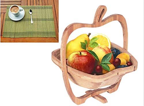 Set de Frutero de madera de bambú en juego con 6 manteles...