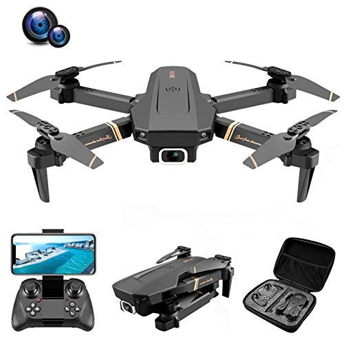 QiaoJia V4 RC Drone 4K HD Dual Cámara Gran Angular 1080P WiFi FPV Dron One Click Return Cuadricóptero en tiempo real para adolescentes/adultos/principiantes