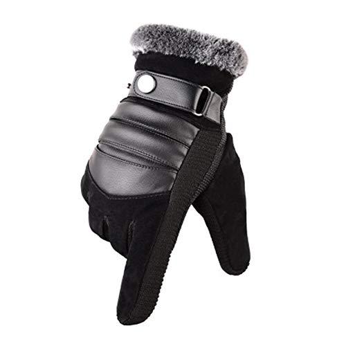 MUCO Winterhandschuhe Herren Warme Handschuhe Plus Velvet Touchscreen Texting Rutschfest Verstellbarer Handgelenkriemen Herrengröße Schwarz und Braun, Gl-03, Einheitsgröße