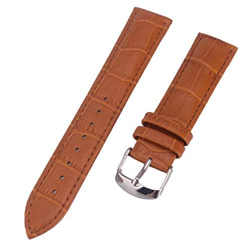 Lihaitao leren horlogebandje 12 mm 14 mm 16 mm 17 mm 18 mm 19 mm 20 mm 21 mm 22 mm 24 mm 26 mm dames heren horlogebandjes volgen riem 9 kleuren (band kleur: Light Brown, band breedte: 21 mm)