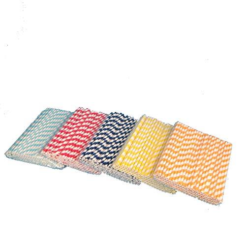 500 Bio Trinkhalme Papiertrinkhalme Strohhalme Trinkröhrchen aus Papier 6x220mm je 100 hellblau rot dunkelblau gelb orange gestreift (auf Wunsch frei mischbar)