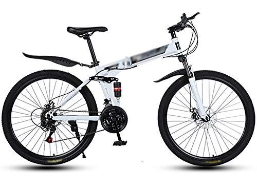 ZXGQF Bicicleta de montaña Plegable MTB Bicicleta 26 Pulgadas Marco de Acero Doble Freno de Disco Bicicleta Plegable, Bicicleta de Ciudad (D3,24 Speed)