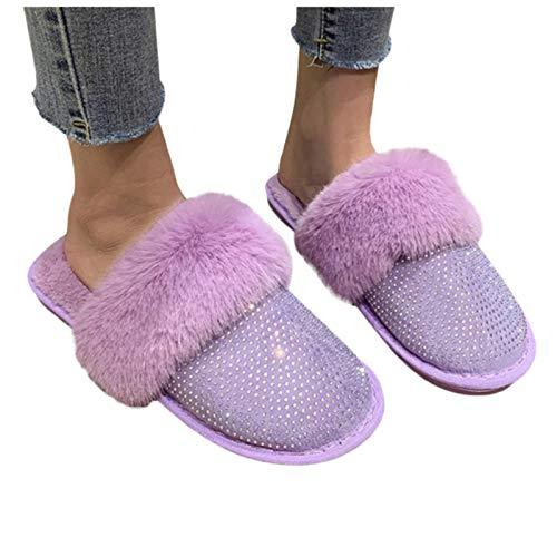 CCLIN Invierno más Terciopelo Mujer Zapatilla Rhinestone Lana algodón cálido Antideslizante casero Zapatillas Cristal Calzado Mujer-Purple,38
