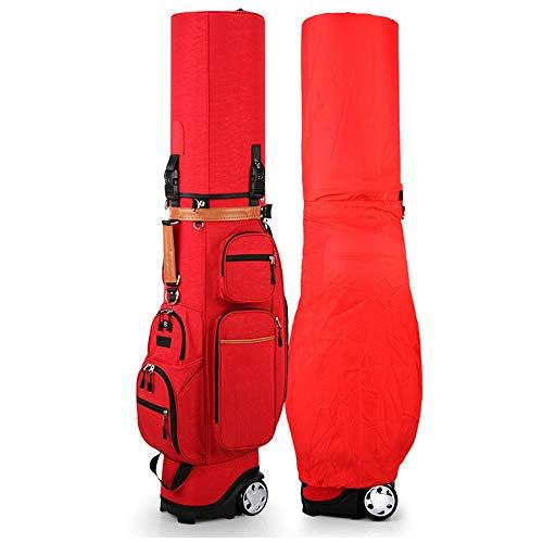 EVFIT Golf Club Taschen Golf-Tasche mit Rollen, Golf Tragetasche for Reise, große Kapazitäts-Organizer Golftasche for Stand mit Divider (Color : Red, Size : 127x34x42cm)