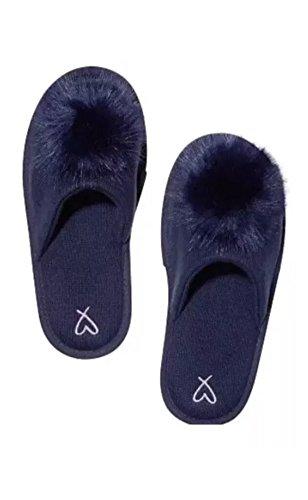 Victoria's Secret Pompon Pantoffeln, Marineblau, Größe M, 7/8
