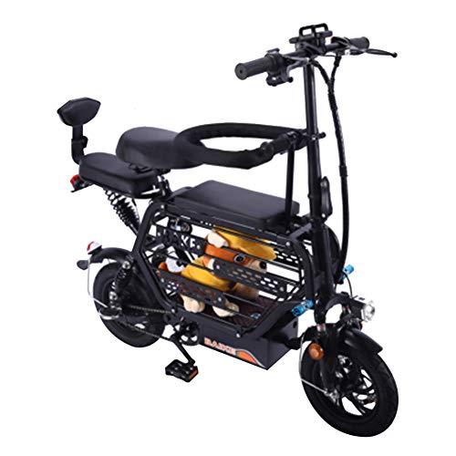 12' Bicicleta Eléctrica Bicicleta Plegable Material de Acero con Alto Contenido de Carbono Motor de 350w 48v 8ah-18ah 25 Km/h con Cesta de Almacenamiento de Gran Capacidad Bicicleta de Montaña,Negro