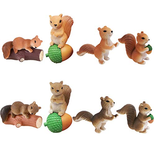 ZSWQ Eichhörnchen-Ornamente, Mini-Garten-Eichhörnchen-Ornamente, niedliche Mini-Eichhörnchen-Tier-Miniatur-Figuren, DIY-Tischdekoration, Feengarten-Miniaturen, 8 Stück (4 und 2 Farben)