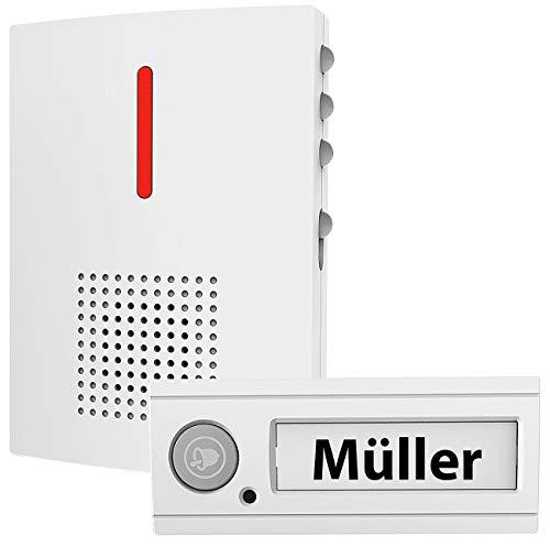 CASAcontrol Türgong: Funk-Türklingel mit Licht- & Ton-Signal, 100 m Reichweite, IPX4, weiß (Türglocke)