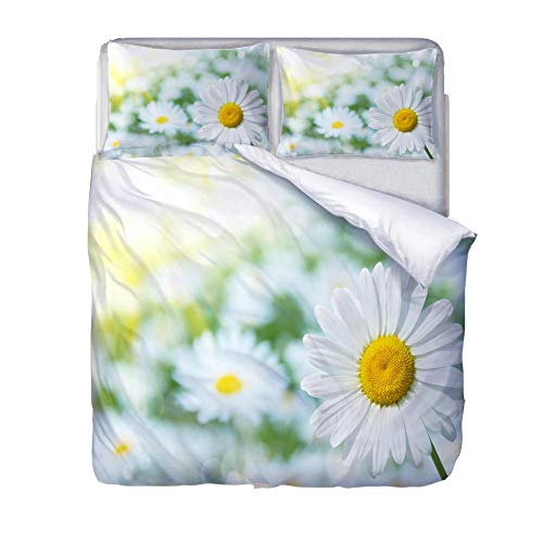 Printed Duvet Cover Double bed White daisy plant Children's rooma and bedroom Bedding boy girl Soft 3 pcs set Easy Care Duvet Cover Set with Zipper Closure