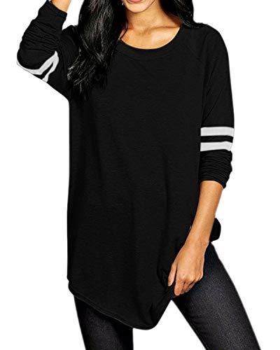 VONDA Damen Langarm Baseballshirt Casual T-Shirt Langarmshirt mit Rundhalsausschnitt Schwarz 3XL