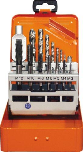 Projahn 91013 Einschnitt Gewindebohrer Satz 15-tlg., Gewindebohrer für Maschinen- und Handgebrauch, Kernlochbohrer und Windeisen, HSS-G, in sieben Größen in Metall-Kassette (M3 - M12)