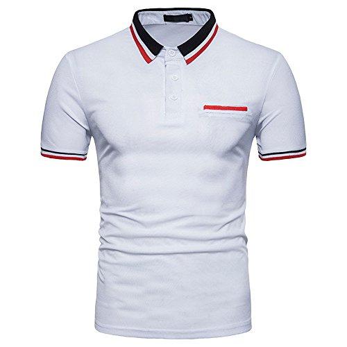 Celucke Polohemd Poloshirt Mit Brusttasche, T Shirt Männer Freizeit Spleißen Polohemden Polo Hemd Mit Farblockdesign (Weiß,L)