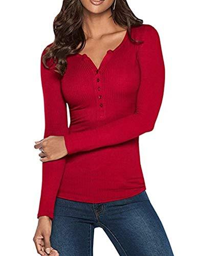 Ybenlover Damen V-Ausschnitt Henley T-Shirts Langarm Geripp Knopf Basic Oberteile Tee (S, Rot)