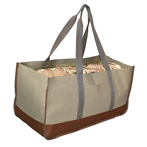 Heavy Duty Durable Tote Bag for Wood, Sturdy Waxed Canvas Log Carrier for...