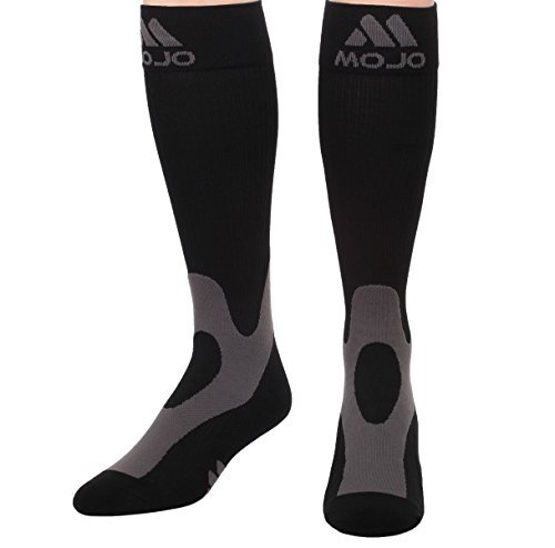 Mojo Coolmax Recovery & Performance Sports Compression Socks (Medium, Black) Helps Shin Splints, Recovery during and after activity - Triathlete Compression socks - Unisex by Mojo Compression socks