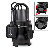 Lanchez 1/4 HP Submersible Sump Pump 2429GPH Water Transfer Pump With Float Switch Foldable Pump Base for Clean & Dirty Water Q400B38M