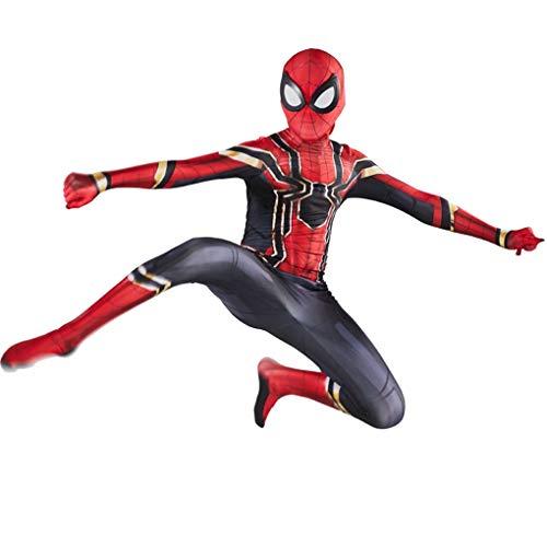 Costumi per bambini adulti Spider-Man Cosplay Anime Superhero vestito operato di travestimento tuta prestazioni Outfits Halloween Unitard regali di compleanno,Iron Spider-Kids/M(110~120CM)