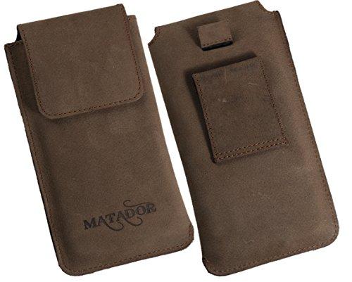 MATADOR Lumia 950 XL ECHT Leder-Tasche/Leder-Hülle/Schutzhülle/Leder/Tasche/Hülle/Hülle mit Ausziehilfe & breiter Gürtelschlaufe in Tabacco Braun