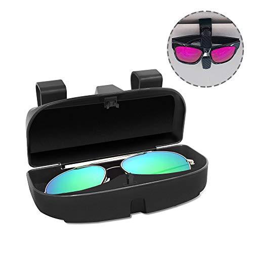 SENHAI Brillen-Organizer Box & Brillenhalter Clip für Auto-Sonnenblende, Sonnenbrillenetui Halterung mit Kreditkartenclip, passend für alle Fahrzeugmodelle
