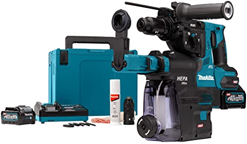 Makita HR004GM202 Martillo Combinado SDS-Plus 40 V máx. / 4,0 Ah, 2 baterías + Cargador en MAKPAC Incluye Aspirador DX14, Na