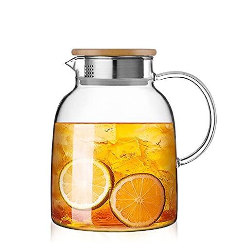 H·Aimee Jarra 1,7l en Claro,Jarra de Vidrio Resistente borosilicato con asa y Tapa al Calor para Bebidas Calientes y frías,Jarra de Agua Jarra de té Helado