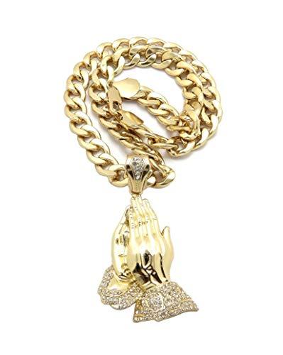iJewelry2 Colgante de manos plegadas con cristales transparentes incrustados en tono dorado dorado