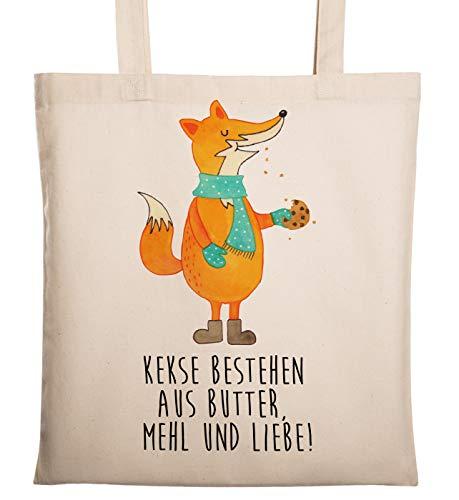 Mr. & Mrs. Panda Jutebeutel, Baumwolltasche, Tragetasche Fuchs Keks mit Spruch - Farbe Transparent