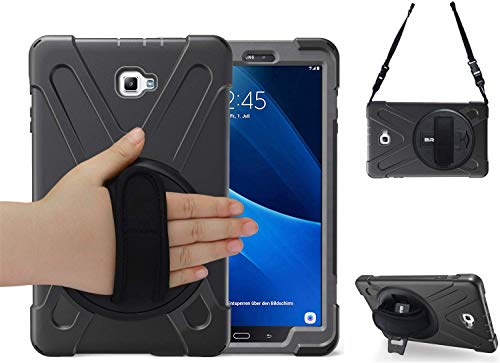 BRAECN Galaxy Tab A 10.1 2016 Case [SM-T580 / SM-T585], Sturdy and Durable, with 360-Degree Bracket, Suitable for Samsung Tab A 10.1 T580 / T585 [no pen] Tablet (black)/Hand Strap and Shoulder Band