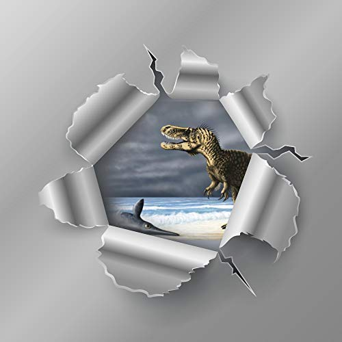 T.Rex - Pegatinas de vinilo para coche, diseño de peces atrapados en el coche, diseño de peces atrapados en T.Rex atrapados con patrón decorativo de monograma o portafolios de viaje, vasos, maletas, bicicleta, 16 pulgadas