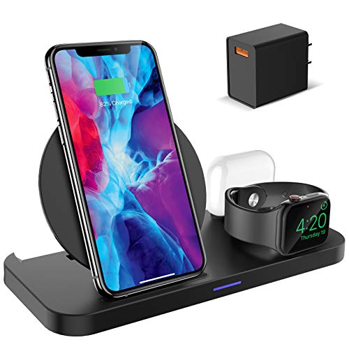 KKM Wireless Charger, 3 in 1 Wireless Charging Station,10W Fast Charging Stand for iPhone 12/12...
