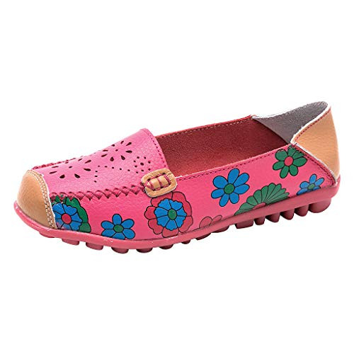 Deloito Damen Mode Lässig Halbschuhe Mischfarben Gemütlich Mokassins Espadrilles Quadratische Zehe Halbschuhe Slippers Hohl Flache Ferse Erbsen Schuhe (Pink,37 EU)