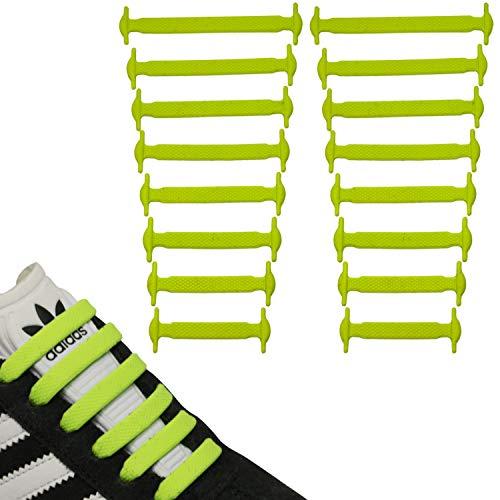 JANIRO Elastische Silikon Schnürsenkel flach | Flexible schleifenlose Schuhbänder ohne Binden | Kinder & Erwachsene (Gelb)