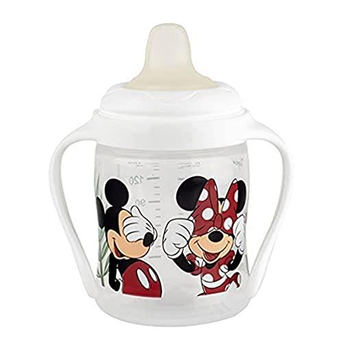 Tigex taza para sorber | Taza para niños a prueba de fugas | 150ml | Asas desmontables | Tapa protectora | Disney Minnie y Mickey Mouse